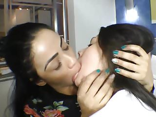 Babes Latin Kissing video: Lesbians Sexy Deep Kissing