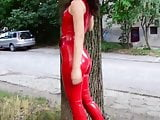 Sexy Girl in hot red Latex