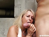 Hot blonde old cougar gets lucky with a hard young cock
