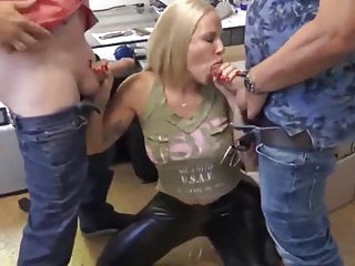 Facial Threesome Milf video: Busty Blonde MILF in Latex with Boss and Husband after Work
