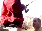 Fisherman blown by naughty daddy in the outdoors