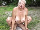 Nudist fucks granny in public