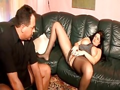 German MILF Saggy Tits Black Stockings