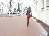 Hot girl in red skirt voyeur (candidcam, nylon, short skirt)