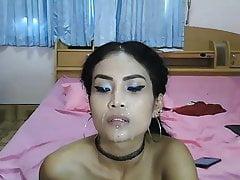 Asian tief anal fick mit sperma im gesicht