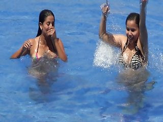 Beach Brunette Big Tits video: Kelly Cuesta and Karem Cecilia whores swimming