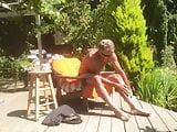 Sunbathing in the heat