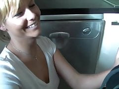 Beautiful blonde fucked in the kitchen