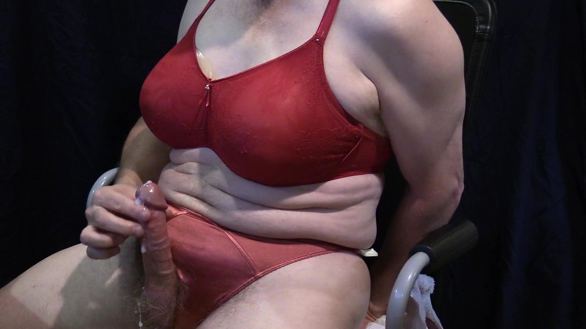 Crossdress Cumshot – Red Bra and Panty