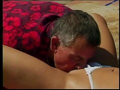 Blonde babe with large tits gets her pussy eaten and fucked by old guy