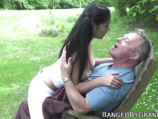 Big Cock Outdoor Babe video: Babe with huge natural tits banged outdoor by lucky grandpa