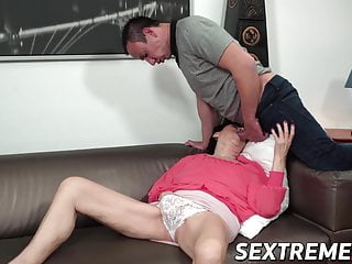 Big Cock Big Tits Mature video: Naughty granny bent over and fucked by younger stud