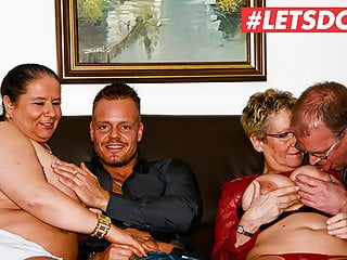 Group Sex Amateur Hardcore video: LETSDOEIT - Amazing First Foursome Sex with Horny Grannies