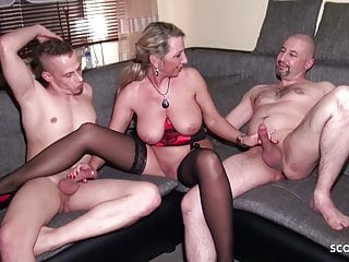 Hardcore Threesome Milf video: Husband Share his German Wife Jenny with Friend in 3some