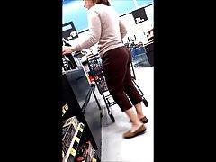 pawg milf bubble w brązowych koronkowych spodniach