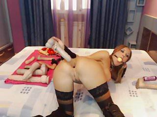 big tit bimbo fucks her ass and throat open