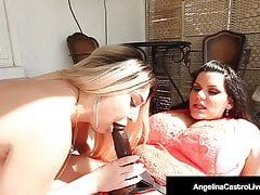 Cubana BBW Angelina Castro StrapOn Fucks Big Butt Nina Kayy!