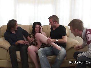 .Cavegirl blows 3 cocks before triple penetration.