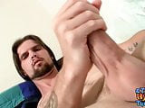 Naughty naked thug Nolan drills his pocket pussy solo