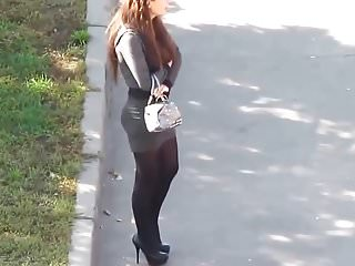 High Heels Pantyhose Short video: Girl in short skirt spying