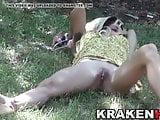 Sweet teen at the park in voyeur scene