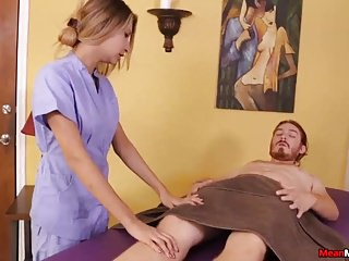 Handjobs Massage Bdsm video: Teen Masseuse Feels Gross To See His Cum