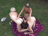Hot Lesbian Threesome Outdoors