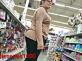 Candid store follow thick older mama