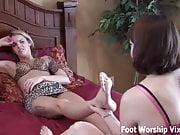 Leyla massaging Bella's perfectly pedicured feet