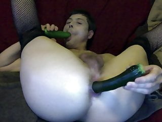 Sexy Logan Male Stripper Loves Fucking and Sucking Cucumbers