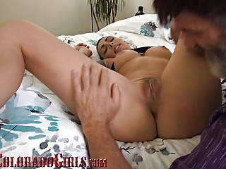 Hairy Latin Big Cock video: Cute Young Latina Gets Her hairy Pussy Filled With Old Cock
