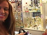 College girl picks up store clerk for hot lesbian sex