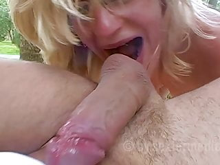 Teen Blowjob Big Cock video: Janes mega orgasm in the garden