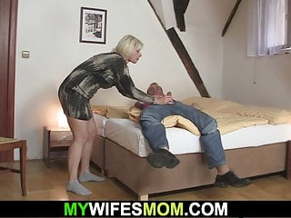Czech Blonde Blowjob video: Blonde mother inlaw seduces him into cheating sex