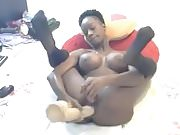 Black Girl playing with her dildo in her Big Ass