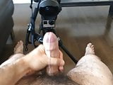 Jerking my own uncut cock with big load of cum