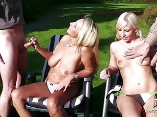 Group Sex Public Nudity Outdoor video: Mother and Step Daughter Public Foursome in Garden German