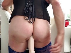 Horse Dick Railing In My Booty And Boobs Clamps