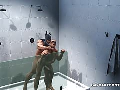 3D Robin gets fucked hard anally in the shower by Batman