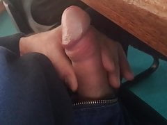 Dick out and hard during a meeting