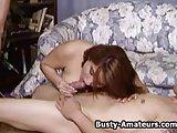 Busty amateur Helena on hardcore threesome