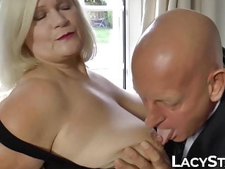 Stockings Blonde Big Cock video: Blonde Lacey Starr riding grandpa dick before cum on tits