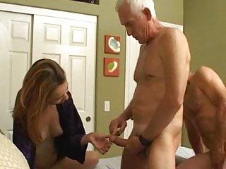 Blowjob Threesome Milf video: Husband and wife fuck friend