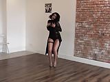 Extremly sexy dancing girl in high heels and micro shorts