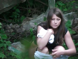 Hidden Cams Voyeur Skinny video: pissing forest