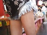 Upshorts asian milf from the front to the back