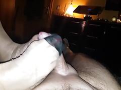 Eiaculazione di footjob di nylon tedesco