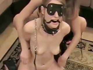 Blonde Small Tits Lesbian video: Blonde lesbian amateur dominates her sex slave