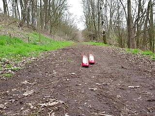 Cumonheels's wife's red heels following me
