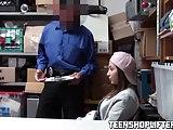 Shoplifting teen Hayden Hennessy sucks and fucks the officer
